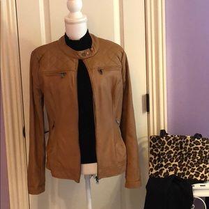 Caramel faux leather jacket